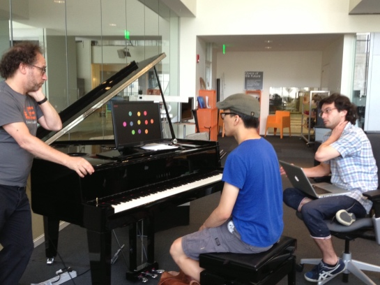 Tod, Tae and Akito rehearsing the live-stream event