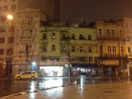 Crumbling old Rio buildings, near the port and in the pouring rain.