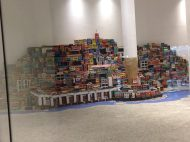 Inside the MAR lobby, a miniature model of the Rio faveklas, built by people who live in the favelas.