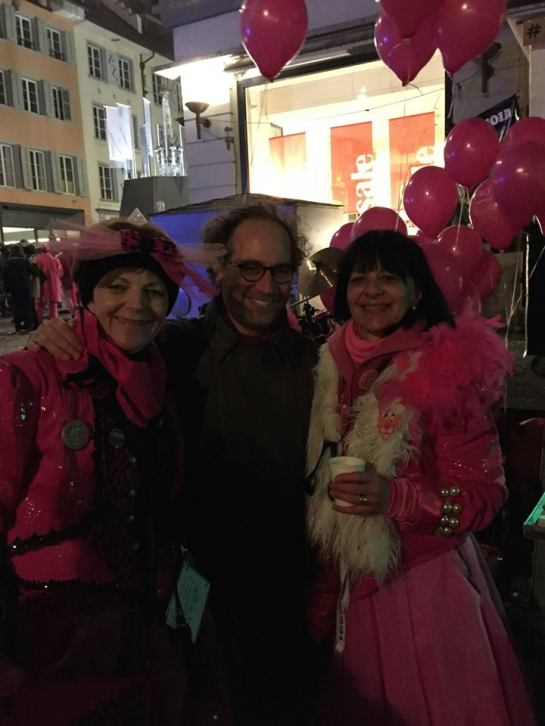 With two other friends and colleagues, Christina Bucher and Katharina Christen - by day at the LUCERNE FESTIVAL but otherwise preparing for their roles in the Chäppeler Guggenmusik ensemble - enjoying a well-deserved rest near the end of Fasnacht last evening