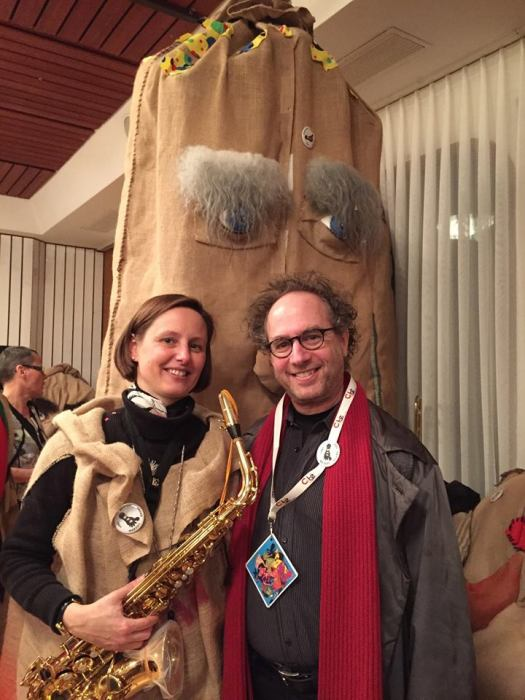 With Christiane Weber of the Lucerne Festival, who also has time to play saxophone (her real instrument is bassoon) as a member of the terrific Barfuess-Fäger Guggenmusik group.