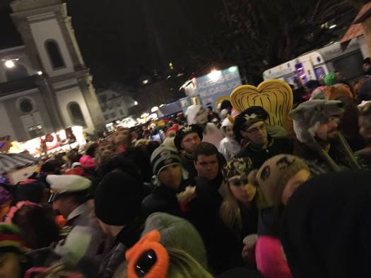Crazy crowds surging with pounding, contrapuntal and Ivesian rhythms. Last night at Lucerne's Fasnacht.