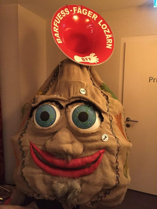 """The """"sack"""" theme expressed in this incredible costume (with embedded tuba!), worn this year by the Barfuess-Fäger Guggenmusik group."""