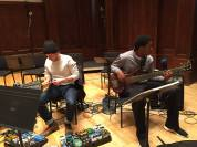 Soloists Bryan Pope and Jonathon Muir-Cotton test out the stage at Detroit's Orchestra Hall.
