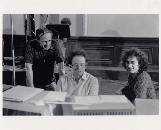 From right, Pierre Boulez, Andrew Gerzso and Tod Machover at IRCAM, working on Répons